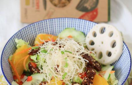 Teriyaki glazed Seitan Strips with crunchy fried glas noodles